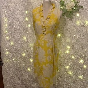 New Directions Yellow w/ Floral Print Dress, Sz 10